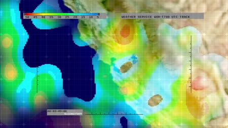 cartografia : Animation of digital weather radar display - Northern California version - showing areas of rainfall intensity. Meticulously created from scratch. No pre-sets or templates used.