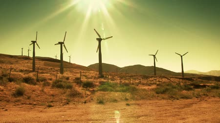turbine : Spinning wind turbines on hot summer day. Shot on HD 1080p. Stock Footage