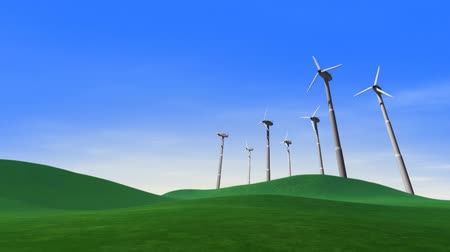 turbine : Wind turbines animation spinning fast. HD seamless looping video 3D animation.-