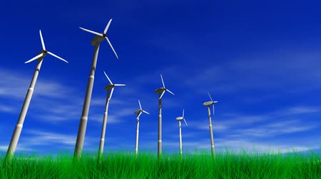 szélturbina : Spinning wind turbines with a blue sky, clouds and grass. 3D animation, seamless looping video.-