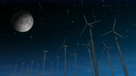 turbine : Spinning wind turbines with starry night sky which turns to a sunny day, moon and shooting star. 3D animation, seamless looping video.- Stock Footage