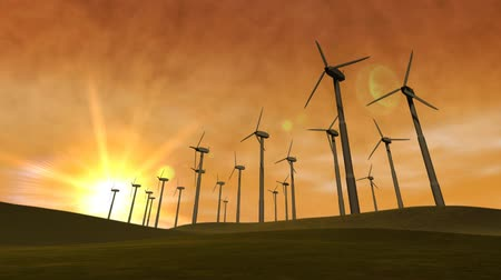 çevre : Spinning wind turbines with an orange sky, clouds and hills. 3D animation, seamless looping video.- Stok Video