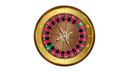 American style roulette wheel spinning loop on white background video