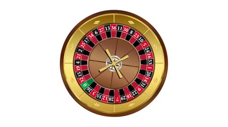 European style roulette wheel spinning on white background video