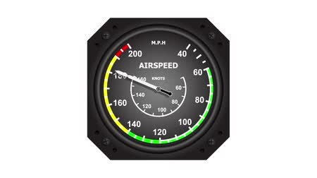 Aircraft airspeed indicator showing increasing and decreasing speed 影像素材
