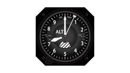 Aircraft altimeter climbing from zero to ten thousand feet and back to zero. 影像素材
