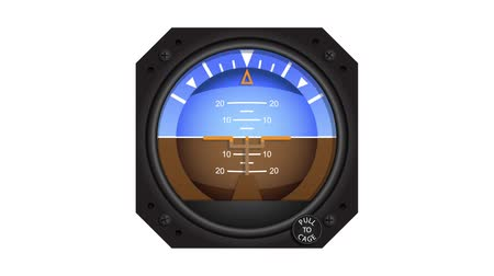Aircraft attitude indicator showing turning and climbing manoeuvres