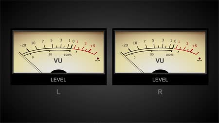 Audio meters moving to a regular bass line