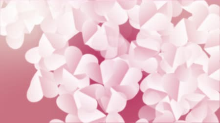 Heart Background For Valentines day. Animated background with white heart paper 3D rising for valentines day holiday. Render in 4K Stock Footage