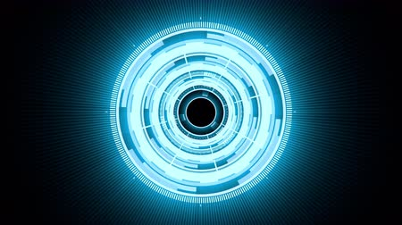 HUD circle interfaces with light blue glowing colors. Futuristic HUD conceptual animation, background for video intro, science fiction and hi-tech shapes design on black background.