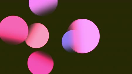Abstract vintage circular pink, purple, violet, blue gradient bokeh flowing on black. Abstract blurred background with pink blue lights. Circle background animation soft defocused blurred color lights