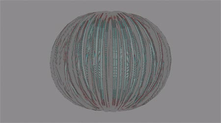 A computer generated animation of a sphere with a pencil line drawing style and segmented sections on a grey background
