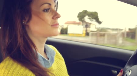 drive : Happy fresh cute woman driving happy Stock Footage