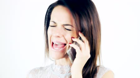 telefones : Business woman feeling bad talking on the phone