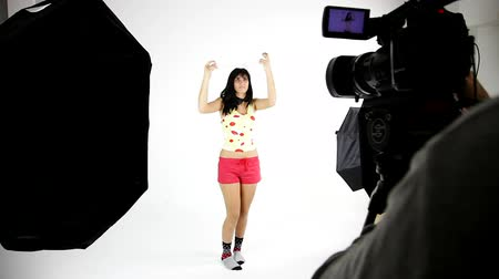 pist : Cool model during video fashion shoot Stok Video