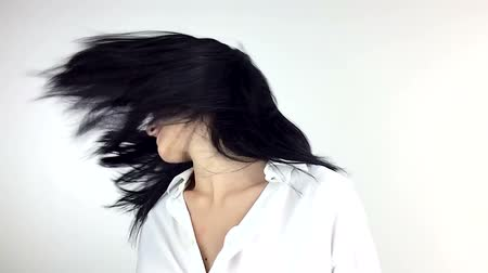 tüyler : Long black hair moving super slow motion 120fps in front of camera Stok Video