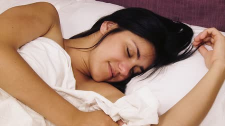 natural tranquil : Happy woman cuddling in bed in the morning