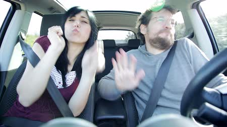 sluch : happy funny crazy people dancing in car driving