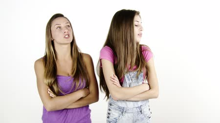 sinir : Two blond teenager fighting strong isolated