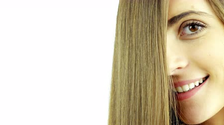beauty spot : Hair commercial shot of beautiful girl with straight hair in front of face
