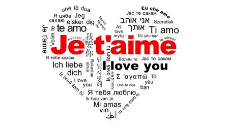 sen : Flying words I Love You in the languages of the world Stok Video