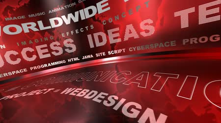 orbe : Spining webdesign oriented words on red background