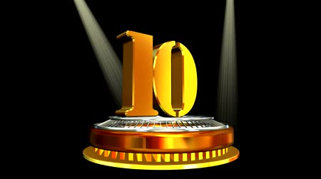 deset : 3d gold metal anniversary number - 10 (looped)