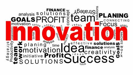csapatmunka : Innovation - flying business oriented words