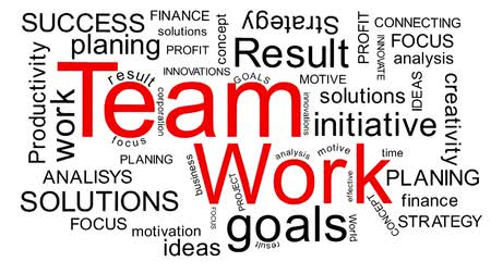 palavras : Teamwork - flying business oriented words