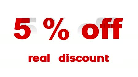 procent : 5% Off Real Korting promotionele teken (lus) Stockvideo