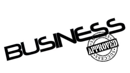 sheet : The word Business in red letters by seal Approved (b;ack)