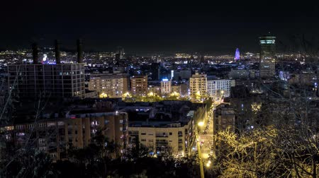 Каталония : Barcelona time lapse at night from Montjuic mountain