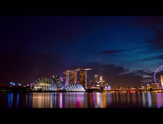 チラシ : SINGAPORE-MAY 19, 2019 : Cityscape Singapore modern and financial city in Asia. Marina bay landmark of Singapore. Night landscape of business building and hotel. Time lapse of Marina bay at dusk. 動画素材