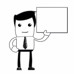 beyaz tahta : Male with sign in hand sketch hand drawn whiteboard animation