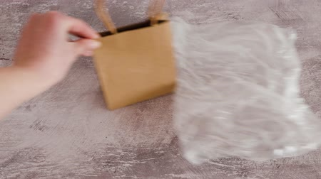 biodegradable : sustainable materials and packaging, hand placing paper shopping bag next to plastic bag into the scene Stock Footage
