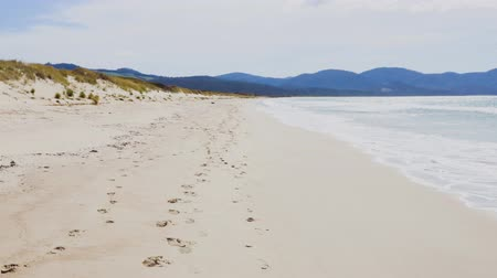 tasmania : pristine deserted beach in Marion Bay along the coast of Tasmania, Australia with sun shining and South Pacific Ocean waves rolling in in the sea breeze with no people Stock Footage