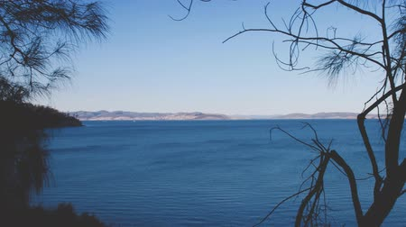 tasmania : Australian landscape with blue ocean and bush trees (horizontal panning) Stock Footage