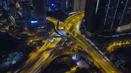 kuala : Aerial hyper-lapse of Highway and Traffics at Kuala Lumpur, Malaysia. Stock Footage