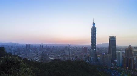 taipei : Time lapse Taipei City sunset with cityscape view of Taiwan