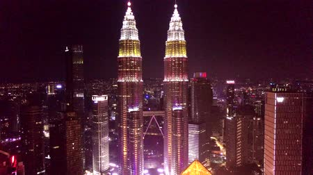 4K UHD close-up footage of Kuala Lumpur City Center (KLCC) during with Merdeka color theme