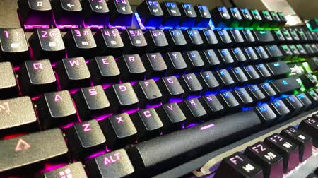 KUALA LUMPUR, MALAYSIA - OCTOBER 26, 2019: Back lighted computer gaming keyboard with versatile color schemes on display at the computer shop