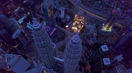 KUALA LUMPUR, MALAYSIA - NOVEMBER 2, 2019: 4K UHD close-up footage of Kuala Lumpur City Center (KLCC) in the morning captured using drone