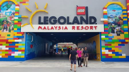JOHOR, MALAYSIA - DECEMBER 27, 2019: Tourist at the Legoland Malaysia entrance taking picture
