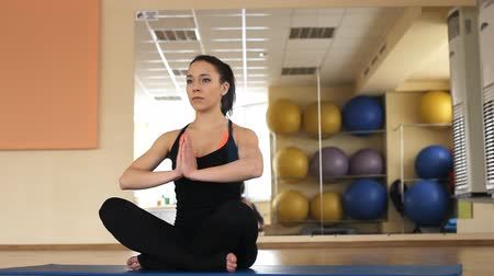 figuras : woman practicing yoga Stock Footage