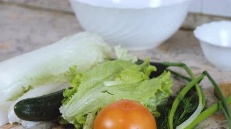 pepino : Vegetables: chinese cabbage, cucumber, tomato, dill, green onion on kitchen table. Close up.