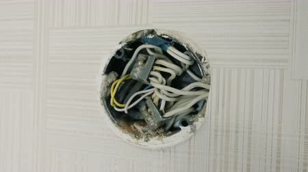 heat resistant : Close-up electrical junction box on the wall under the ceiling