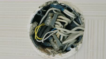 heat resistant : Close-up view of electrical junction box on the wall under the ceiling