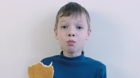 édesség : 7years boy in blue shirt biting the waffles and chewing them. Crumbs fly in all directions. Stock mozgókép