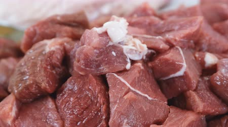 вырезка : Large pieces of beef close up. Camera move from left to right. Only meat.