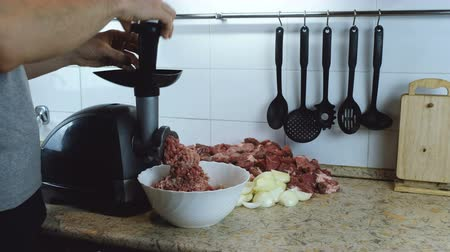 фарш : Close-up mens hands putting beef and pork meat and onion through electric meat mincer at home. Стоковые видеозаписи
